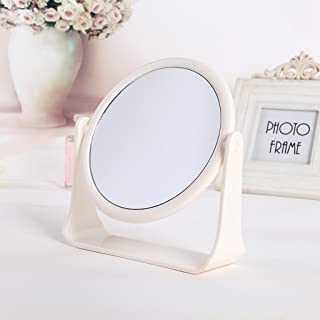 NYDZDM Simple High - Please Double - Sided Make - Up Mirror Desktop Dressing Mirror Dormitory Desktop Rotating Mirror (Color : White)