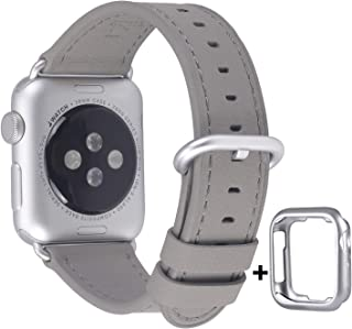 JSGJMY Compatible for Iwatch Band 38mm 40mm S/M Women Genuine Leather Loop Replacement Strap Compatible for iWatch Series 5 4 3 2 1, Grey with Silvery White Clasp