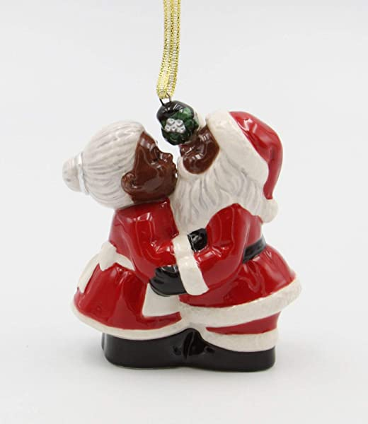 Cosmos Gifts Fine Ceramic African American Santa Mrs Claus Kissing Under The Mistle Tree Ornament 3 1 2 H