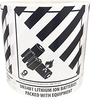Hazard Class 9 D.O.T. UN3481 Lithium Ion Batteries Packed with Equipment Labels 4 x 4 3/4 Inch 500 Adhesive Stickers