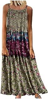 Maxi Dress for Women Vintage Boho Print Floral Sleeveless O-Neck Straps Long Dress Sleeveless Dress