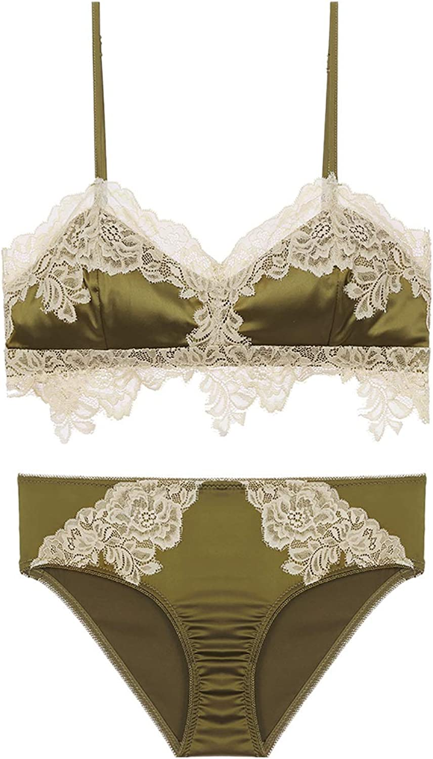 Bra Panty Set lace deep V Sexy Gathered Palace Wind lace Embroidered Bra, no Steel Ring, Adjust The Chest Type, Three Rows of Single Buckle Cloth (color   Green, Size   70B=30B=65B)
