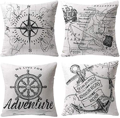 Freea Cushion Covers, Set of 4 Decorative Pillowcases Voyage Navigation Travel Square Throw Pillow Covers 45x45cm for Home Sofa Bed Chair