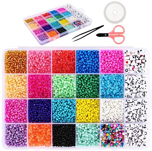 Muka 10320 cuentas de cristal con letras del alfabeto y semillas de 3 mm para joyería, pulseras, manualidades y accesorios de bricolaje