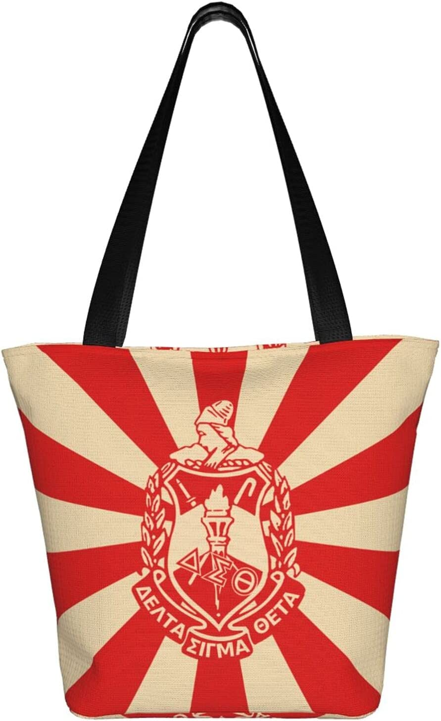 Positive Motion Engaged Delta 1913 DST Sigma Theta Big Capacity Tote Shopping Bag Reusable Shoulder Portable with Zipper