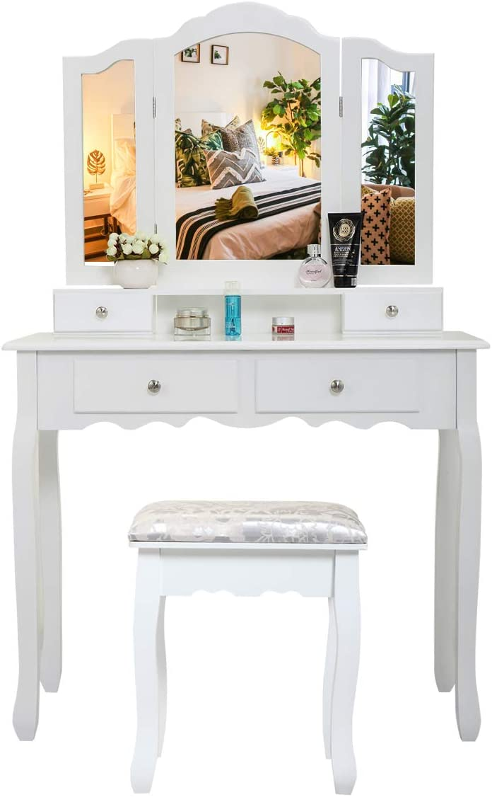 Cash special price New life Vanity Makeup Table with Tri-Folding 4 Mirror and Drawers