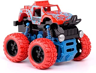 Inertia Toy Car, FOONEE Monster Trucks for Kids Friction Powered Push and Go Car Big Tire 4WD Bigfoot Monster Truck Toy Gi...