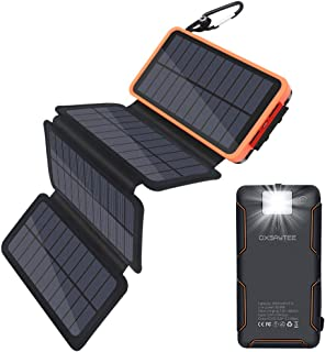 25000mah Portable Solar Power Bank with Multifunction Flashlight, 4 Foldable Solar Panels solar, Dual USB External Battery...