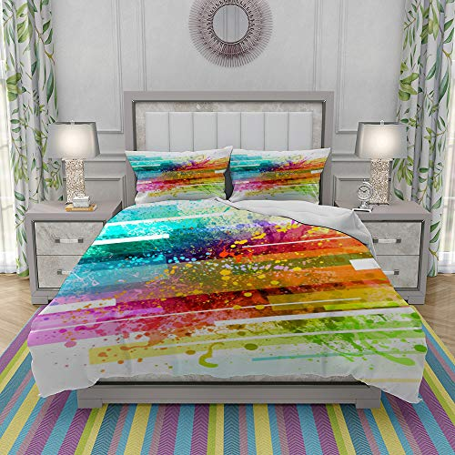 REIOIYE Duvet Cover Set-Bedding,Rainbow Paint Splash Background,Quilt Cover Bedlinen-Microfibre 200x200cm with 2 Pillowcase 50x80cm
