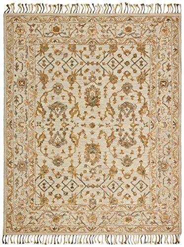 Stone & Beam Lottie Traditional Wool Area Rug, 5 x 8 Foot, Beige