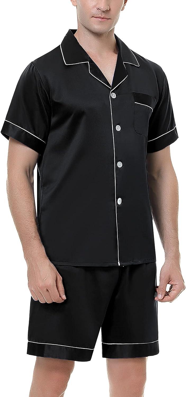 Mens Silk Satin Pajamas Set - Max 71% OFF Short Ranking TOP7 Classic and Shorts Sleeve Bu