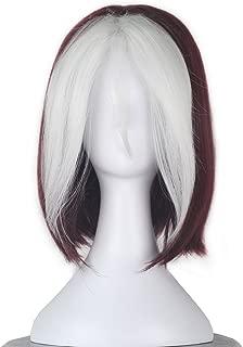 Women Short Wavy Burgundy Brown and White Strands Hair Cosplay Costume Wig C350