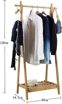 Amazon.com: Multi funcional estante de ropa de bambú sobre ...