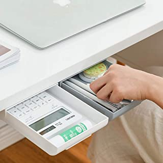 Under Desk Storage White,Desk Drawers Organizer Large Capacity 2Pack Self-Adhesive Hidden Desktop Pencil Drawer Tray for H...