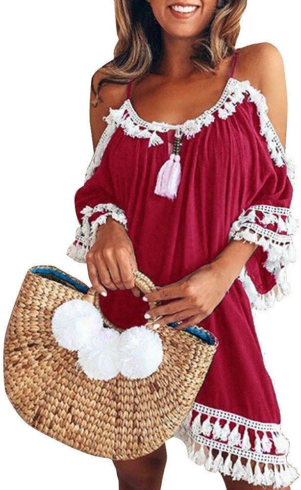 Dresses for Women,Womens 2021 Casual Beach Dress Color Print Sleeveless Comfy Loose Sun Short Dresses