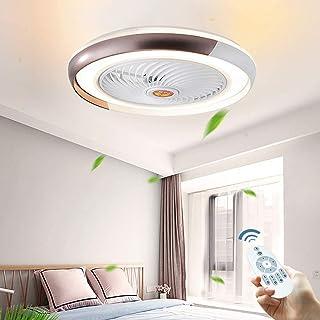 JDDSA Ventilador de Techo con Luz 3 Velocidades Regulable con Control Remoto Lámpara LED Carcasa de Acrílico de Metal Luz de Techo de Dormitorio Súper Silencios Can Timing 60cm,Marrón