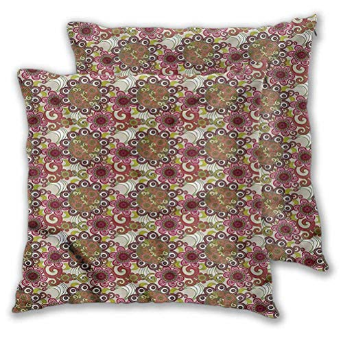 Decorative Pillows Cushion Covers Oriental Flowers Pattern for Couch Sofa Home Decoration Modern 18' x 18' | Set of 2 (Insert Not Included)