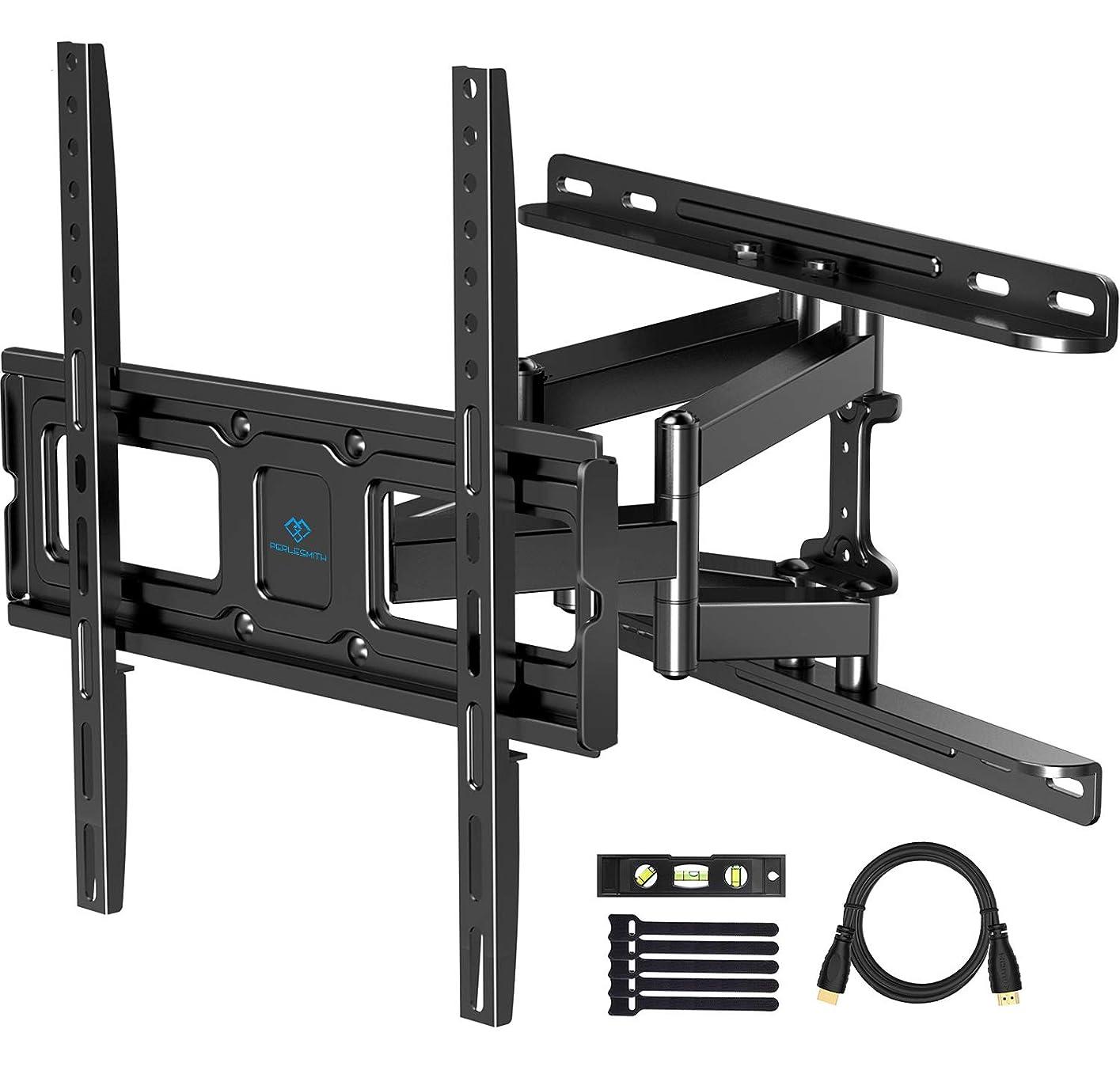 調整可能酸化する活気づけるPERLESMITH テレビ壁マウント フルモーション ほとんどの32~55インチフラット曲面テレビに対応 スイベル、傾き、拡張機能付き デュアル関節式アーム ウォールマウント テレビブラケット 最大99ポンドのテレビに対応 VESA 400x400