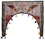 Cortina decorativa de patchwork, para ventana, bordada, para colgar en la puerta, diseño de toran de bandana, algodón, Multi 2, 39' X 38' Inches