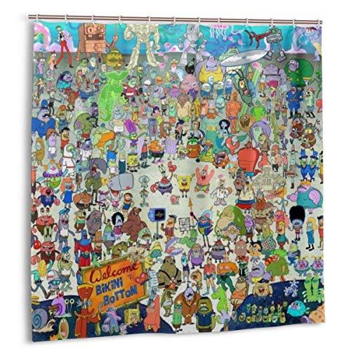 BOBO-Shop Duschvorhang wasserdichte Duschvorhang Spongebob Schwammkopf Cartoon 60 * 72inch