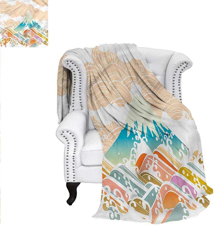 RenteriaDecor Modern Flannel Blanket Cartoon Mountain Landscape Warm Microfiber All Season Blanket for Bed or Couch 60 x50