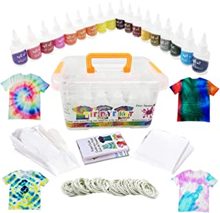 Vivuzono Tie Dye Kit 18 Colors 90 Rubber Bands 12 Protective Gloves Table Sheet Instruction Booklet In Colorful Carry Case...