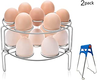 GUOXUAN 2-Pack Egg Steamer Rack Stainless Steel Kitchen Trivet Stackable Vegetable Steam Rack for Instant Pot And Pressure Cooker Accessories