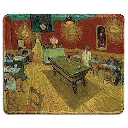 dealzEpic - Art Mousepad – Naturkautschuk Mauspad mit berühmtem Fine Art Gemälde des Nachtcafes von Vincent Van Gogh – genähte Kanten – 24,1 x 20,1 cm