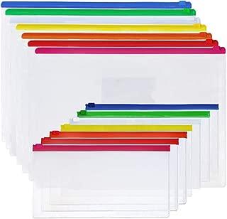 EOOUT Poly Zip Envelope Files Bill Bag Pencil Case 7 Color Zippers, A4, A6 Size(14 pcs)