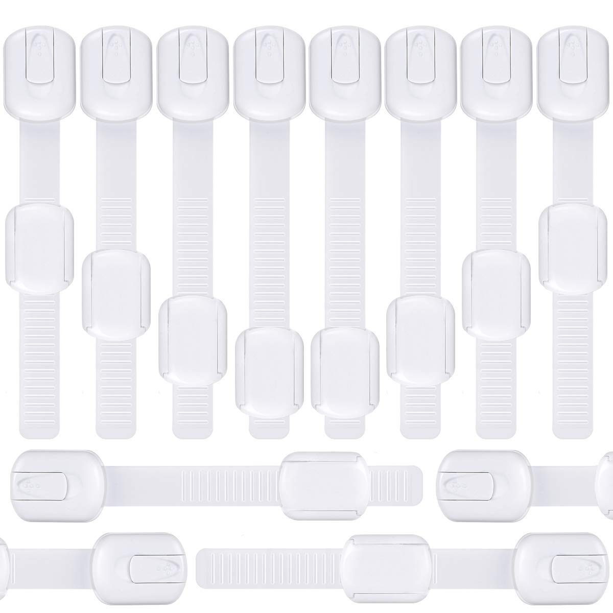 12 Pack Child Safety Strap Locks, Adjustable Safety Latches for Baby, Adhesive Baby Locks for Cabinets, Drawers, Fridge, Toilet