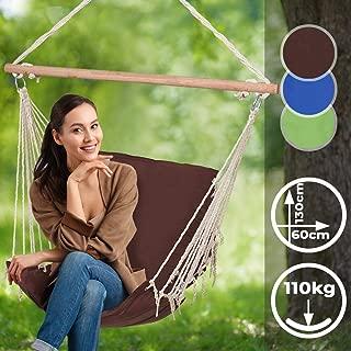 Silla Hamaca - 130x60 cm, Capacidad de Carga 110 kg, Guata de Poliéster, Elección de Color - Barra Integrada, Silla Colgante Jardín