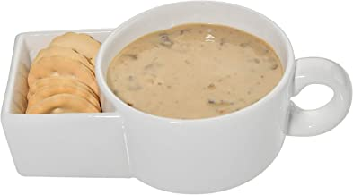 Home-X Soup and Crackers Ceramic Mug Bowl   Cookies and Milk, Veggie Snack & Dip Cup