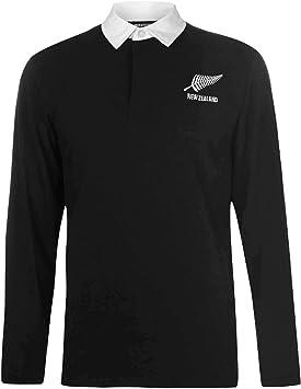 New Zealand Camisa de rugby de manga larga para adultos (100% algodón, tallas S a 3XL)
