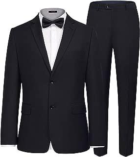 iClosam Esmoquin de Traje Regular para Hombres de Negocios Trajes de botón Chaqueta y Pantalones para la Fiesta de Bodas de Negocios - Un Conjunto