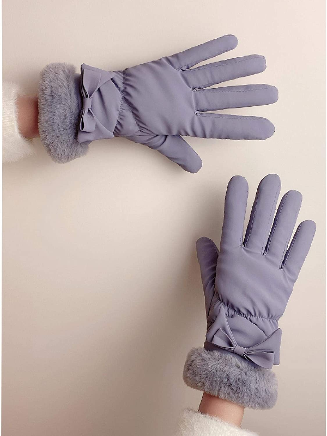AMILIEe Gloves Winter Girl Student Plus Velvet Thick Down Cotton Cute Touch Screen Warm Windproof Waterproof Cycling Gloves 均码 FG大蝴蝶款【灰色】