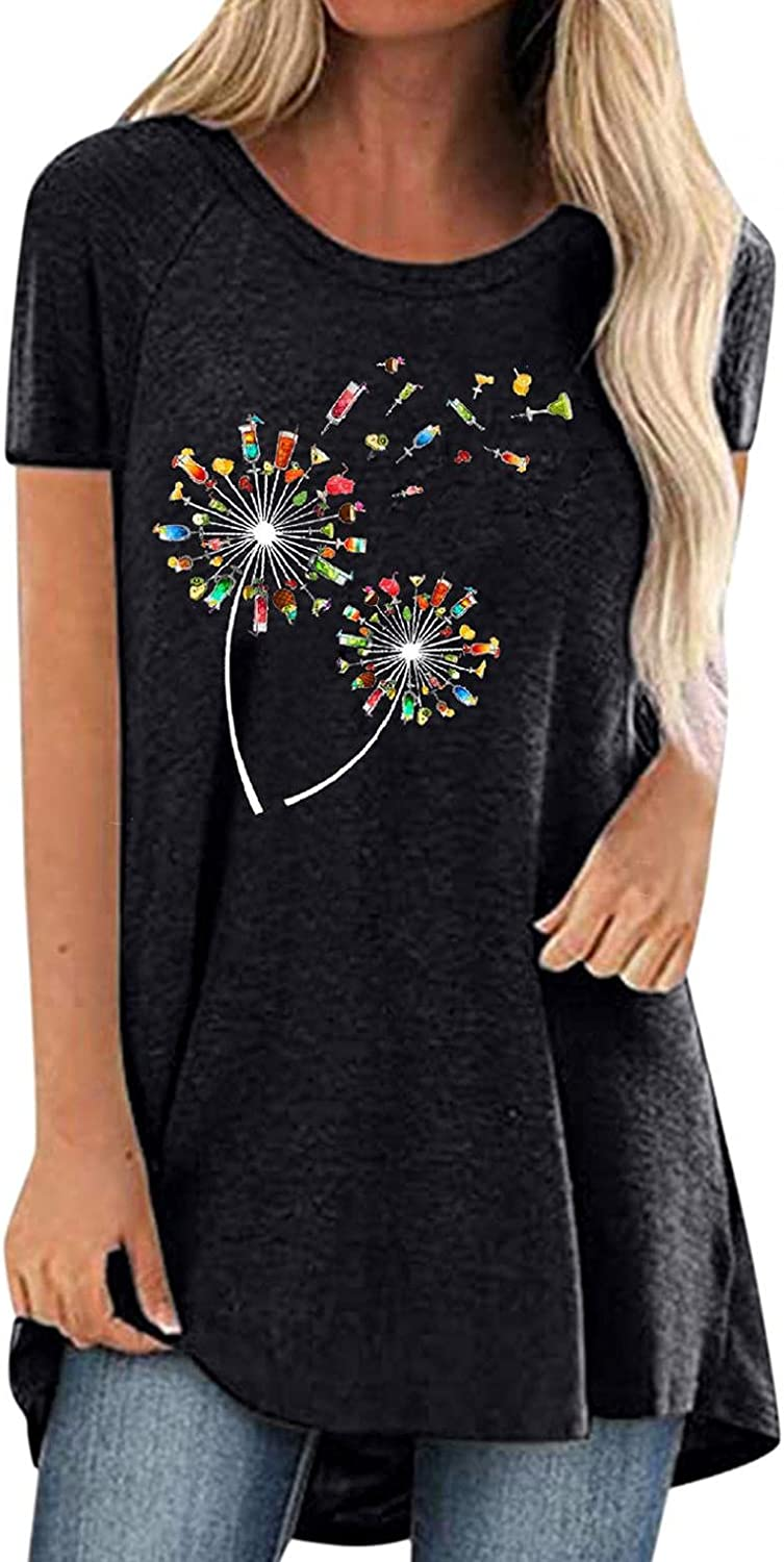 FABIURT Shirt for Women,Womens Fashion Casual Plus Size Printed Tee V-Neck Short Sleeve Long Shirt Loose Fit Cropped Top