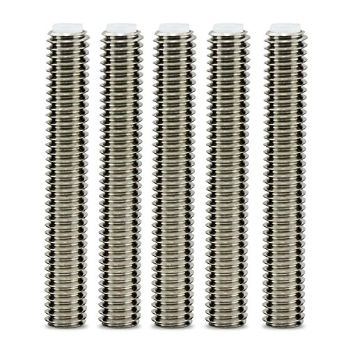 Aussel 5PCS Barrel Stainless Steel Nozzle Throat for Makerbot MK8 3D Printer Extruder Hot End (M6*40mm)