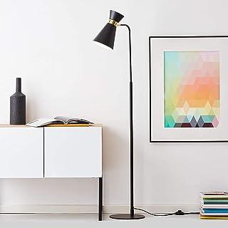 Lámpara de pie, 1 foco, 1 bombilla E27 máx. 28 W, metal, color negro mate y dorado