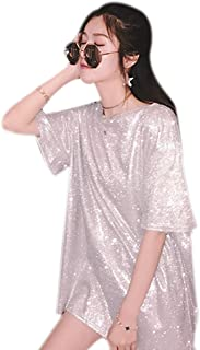 Women Girls Glitter Sequins T-Shirt Short Sleeve Loose Top Tee Casual Party Blouse Tops Silver