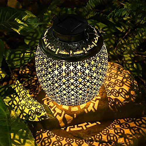 Beinhome Farol Solar Exterior con Diseño de Monedas de Cobre,Lámparas Solar LED,IP65 Resistente al Agua,Farolillo Colgante para Exterior con Encendido/Apagado Automático,para Jardín,Terraza,Balcón