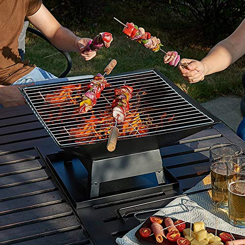 FMXYMC Outdoor Barbecue BBQ Grill, Patio Fire Pit Square Table, Camping Bonfire on Tabletop,18'X18'X14'