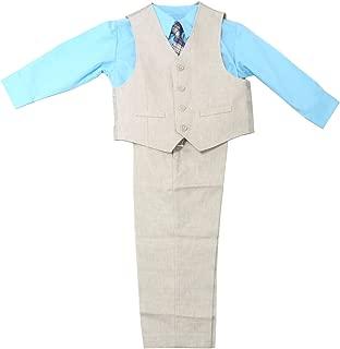 Boys 4-Piece Pants Suit Set, Khaki/Blue (7)