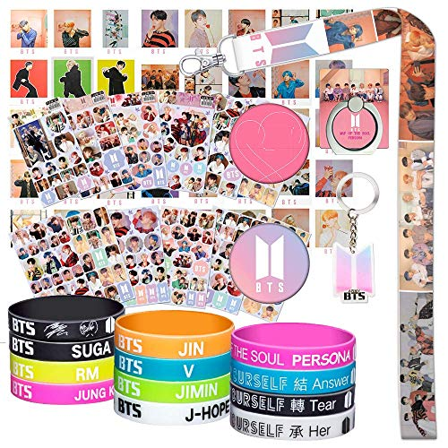 BTS Gifts Set for Army - 40Pcs BTS Lomo Cards/12 BTS Silicone Wrisbands Bracelets/12 BTS Stickers/1 BTS Phone Ring Holder/1 BTS Lanyard/1 BTS Keychain