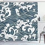 Badezimmer Duschvorhang Japanische Welle Hand Gezeichnet Traditionellen Stil Aquatic Doodle River Storm Retro Abstrakt Schieferblau 183X183Cm Muster Badezimmer Duschvorhang Bad Vo