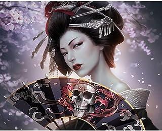 Kit de pintura de diamantes por número, para adultos y niños, 5D, bricolaje, bordado de diamante, rompecabezas japonés geisha (2434 cm)