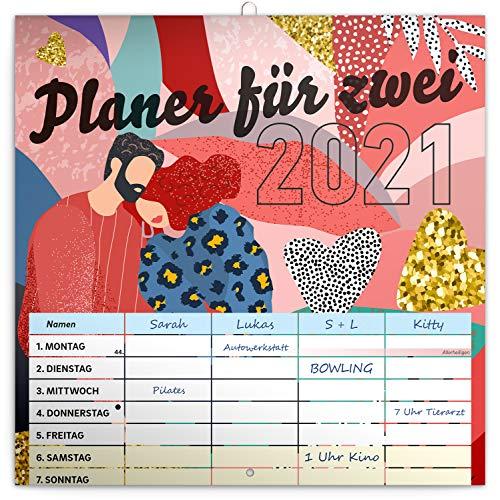 Planer für Zwei 2021 Paarkalender Wandkalender Terminplaner Paar Kalender mit 4 Spalten 30 × 30 cm