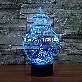 2016 nueva T- colorida BB8 Star Sci-fi Movie Wars decoración navideña ligera 3D BB-8 LED Night Light bb-8 Night aber