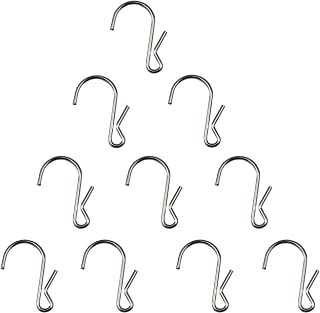 LJY 10-Pack Polished Metal Clip Type Hanging Hooks, Holds up to 10 lbs