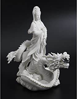 13-inch Quan Yin Riding on Dragon Statue Marble-Finish Version