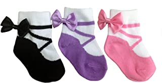 Baby Infant & Toddler Girls Socks with Shoe Design - Anti Slip - Cotton - 3 Pairs - Gift Packaged (12-24 Months, Ballerina Socks - Pouch)